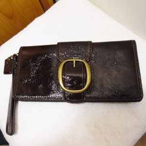 Coach Mahogany Leather Bleecker Clutch Wristlet